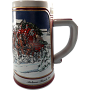 Commemorative Budweiser Christmas Beer Stein 1989