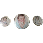 Trio of Baby Prints in Domed Frames