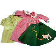 Three Pieces of Clothing for Large Dolls Including Poodle Skirt