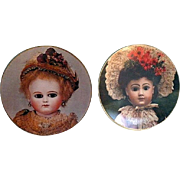 Two Old French Doll Collection Plates