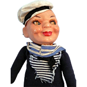 Early Cloth Sailor Doll Marked VH