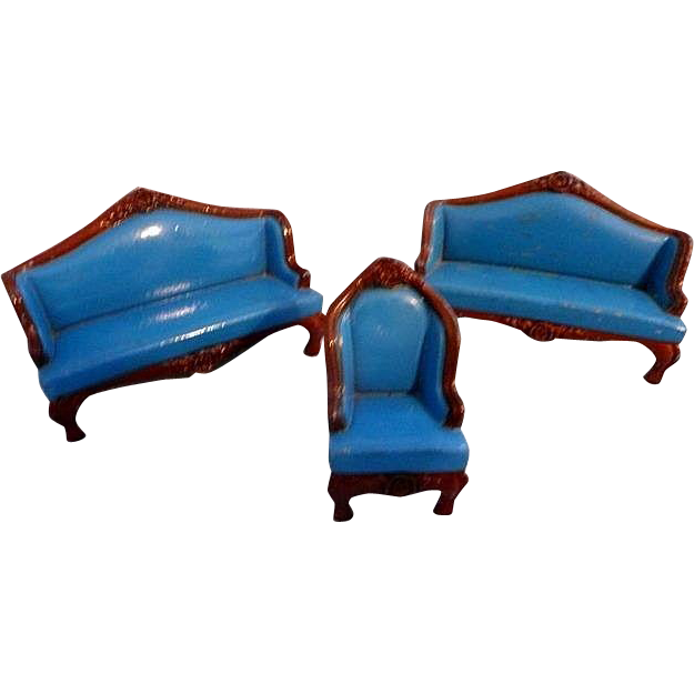 Three Pieces of Matching Mattel Metal Doll House Furniture