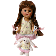 Ginny Doll with Toy Bunny, Silver Tag