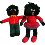 Vintage Knitted Golliwog Brother and Sister