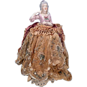 China Half Doll with Very Old Elaborate Beaded Gown