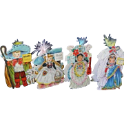 Four Hallmark 1949 Dolls of the Nations Paper Doll Cards