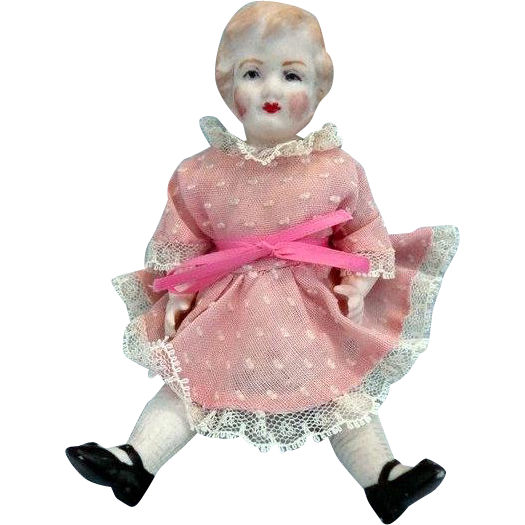 "6"" German Bisque Doll House Doll in Pink Dress"