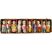 Tiny MIJ Bisque Doll Set in Original Box
