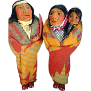 Vintage Artistic Native American Doll Pair and Papoose