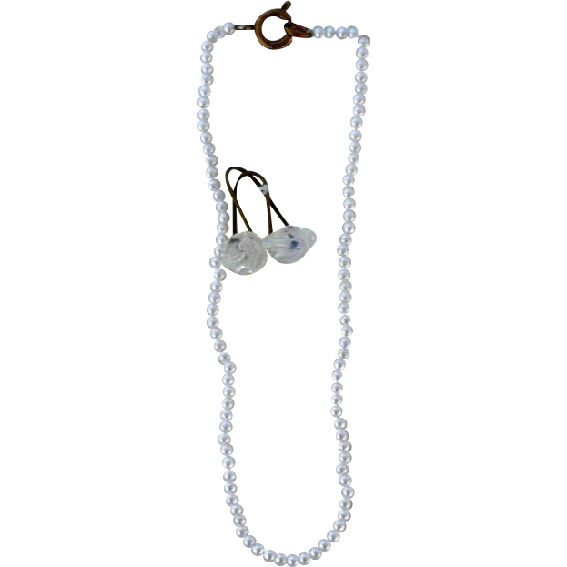 """7"""" Tiny"""" Pearl"""" Necklace and """"Crystal"""" Earring Set"""