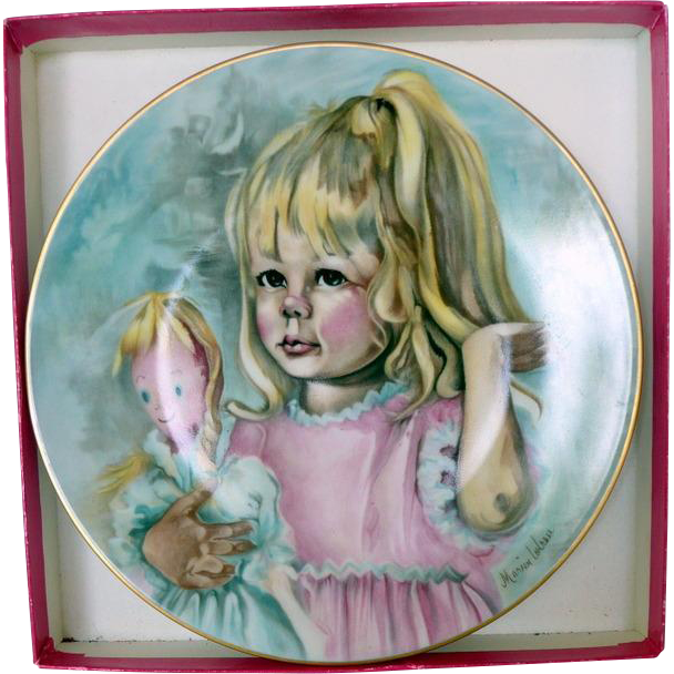 Small Limoges Plate with Child and Doll