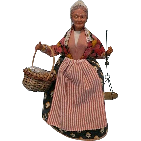 Vintage French Fish Seller Santon