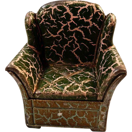 Tootsie Toy Doll House Flocked Arm Chair