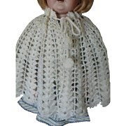 "White Crocheted Shawl for 22""-25"" Doll"