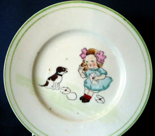 Nippon Child's Plate with Child and Dog Figures