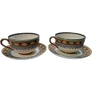 Hand Painted Deco Style Cup and Saucer