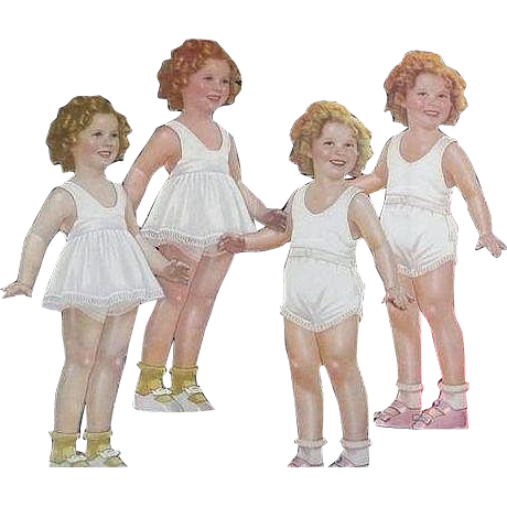 Original Partially Cut Shirley Temple Paper Dolls from 1937