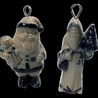 Santa and Father Christmas Salt Glazed Doll Size Ornaments