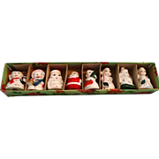 Vintage Christmas Figures/Place Card Holders In Box
