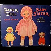 Original Queen Holden Baby Sister Paper Doll 1929 Whitman