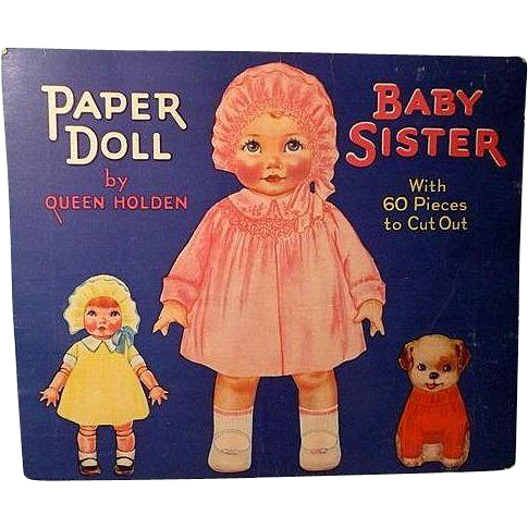 Original Queen Holden Baby Sister Paper Doll 1929 Whitman