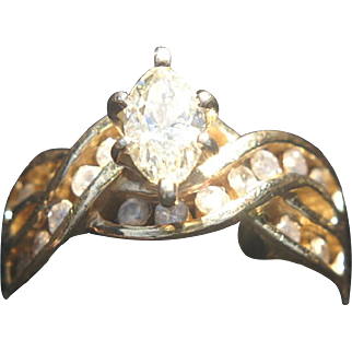 Appraised Ladies 14K Yellow Gold Diamond Ring Over 1 carat Total
