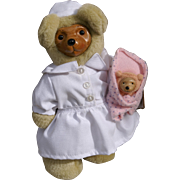 "8"" Nena Nurse Bear & Baby Bear by Raikes Bears,MIB 1994"