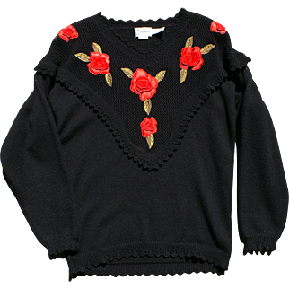 Black Wool Knit Pullover Sweater, Red Rose Applique