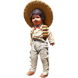 """Handsome 17"""" Mexican Man Doll 1940s"""