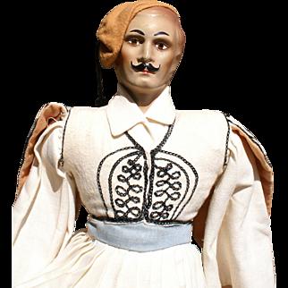 "Dashing 16"" Greek Palace Guard Doll circa 1930s"