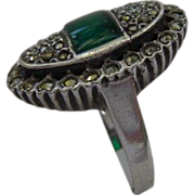 Art Deco Sterling Crysoprase and Marcasite ring