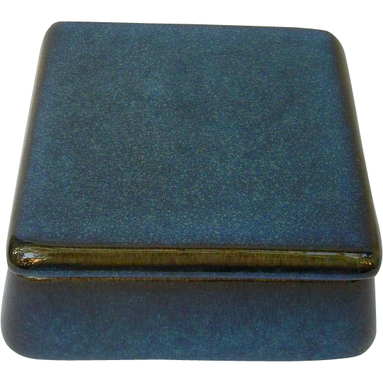 Vintage Gustavsberg Lagun Ceramic  Blue Covered Box, Sweden