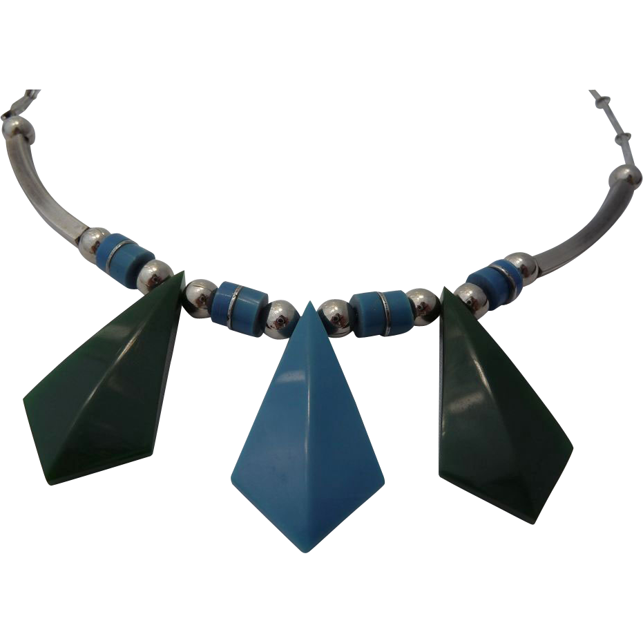 Jacob Bengel Modernist Necklace - Galalith & Chrome - Circa 1930