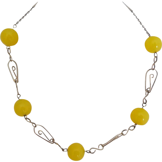 Art Deco Sterling & Uranium Glass Necklace