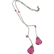 Art Deco Sterling & Pink Crystal Lariat Necklace