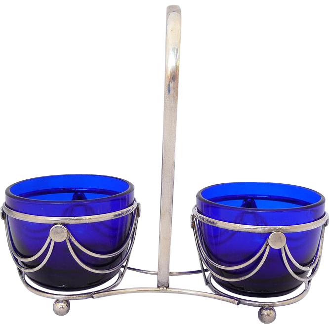 Art Deco Silverplate And Cobalt Glass Condiment Server