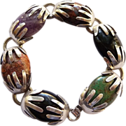 Vintage Signed Sterling And Agate Bracelet - Mexico