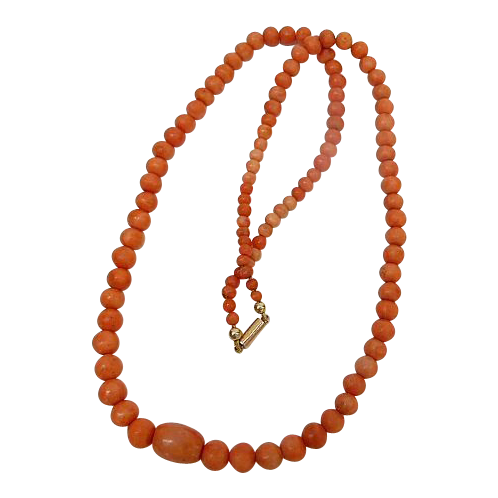 Antique Coral Bead Necklace - Gold Clasp