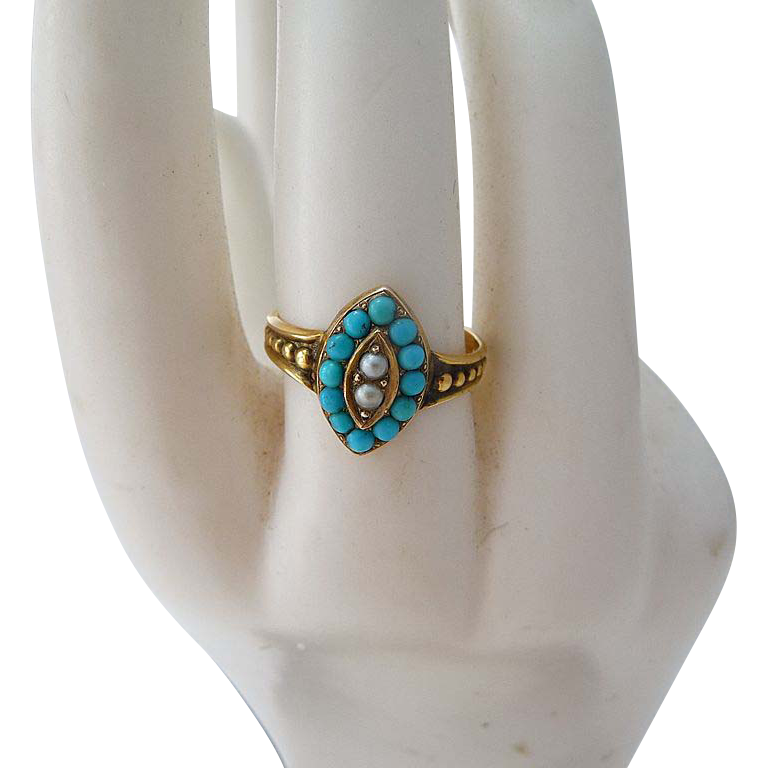 Edwardian 18 Carat Gold Turquoise and Seed Pearl Ring