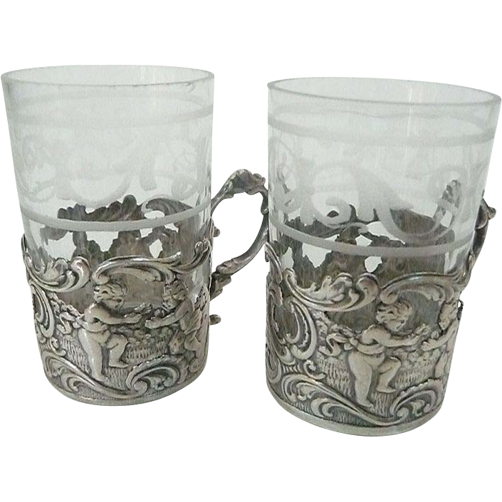 Antique Silver Cordial Holders With Crystal Glass Inserts - Germany