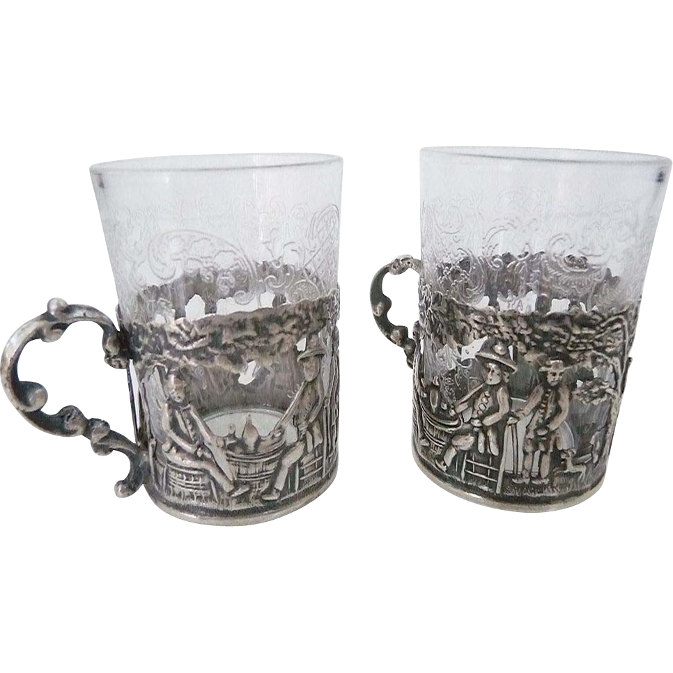 Pair Antique Silver Cordial Holders With Crystal Glass Inserts – Germany