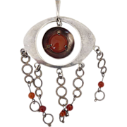Modernist Sterling Silver and Citrine Pendant - Israel