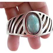 Early Mexican Hand Wrought Sterling Silver Hinged Cuff Bracelet -Signed Sergio