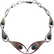 Vintage Sterling Silver and Azurite Mexican Chocker Necklace - Los Ballesteros