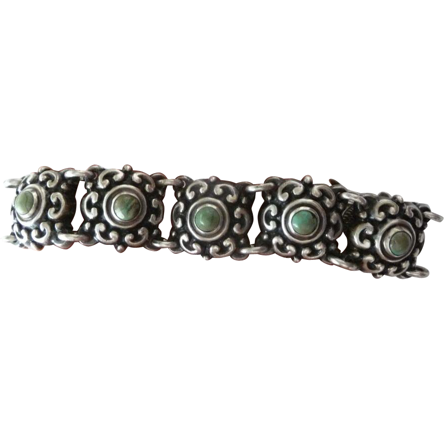 Vintage Old Mexican Sterling Silver Bracelet, Turquoise stone