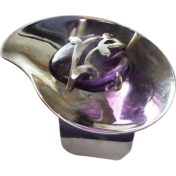Vintage Mexican Silver and Amethyst Modernist Bracelet - Signed