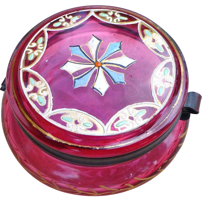 Moser Cranberry  Glass Gilt And Enamel Dresser Jar -  Late 1800's