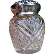 Beautiful Cut Crystal And Sterling Silver Top Dresser Jar, Unger Brothers