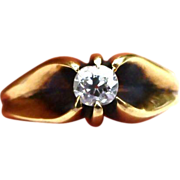 Victorian 14 Carat Rose Gold Diamond Ring
