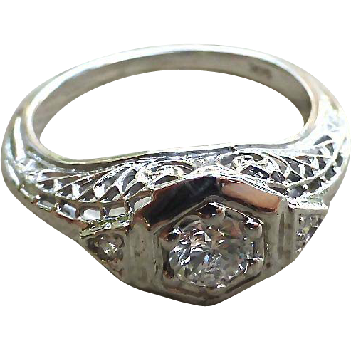 Art Deco 14K Filigree White Gold And Diamond Engagement Ring     ring